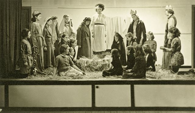 A tableau from a Christmas play, Amber Valley Camp School, Woolley Moor, c 1940s-50s