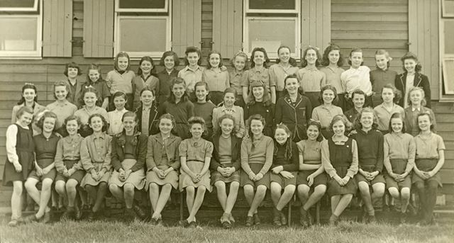 Girls at camp, Amber Valley Camp School, Woolley Moor, March-April 1946