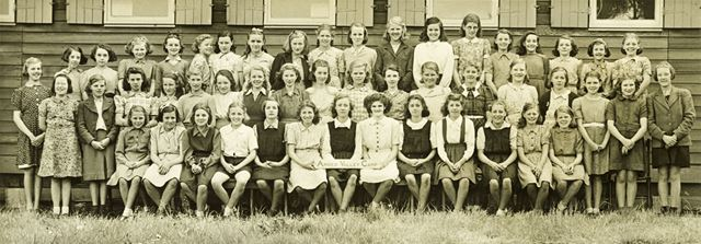 Girls at camp, Amber Valley Camp School, Woolley Moor, May-June 1946