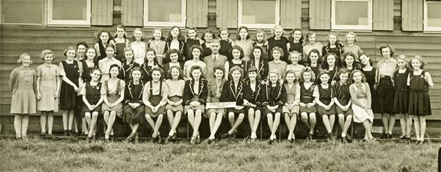 Girls at camp, Amber Valley Camp School, Woolley Moor, October-November 1946