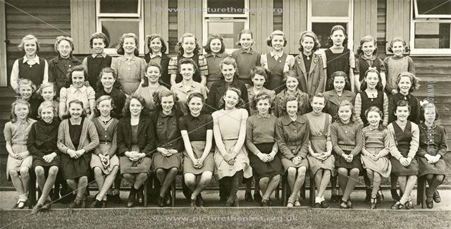 Girls at camp, Amber Valley Camp School, Woolley Moor, November 1946