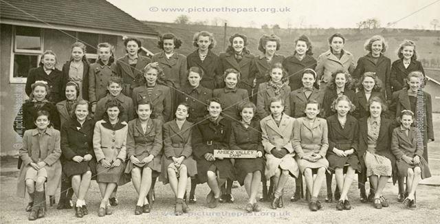Girls at camp, Amber Valley Camp School, Woolley Moor, December 1946