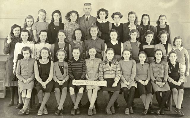 Girls at camp, Amber Valley Camp School, Woolley Moor, January-February 1947