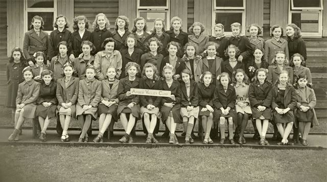 Girls at camp, Amber Valley Camp School, Woolley Moor, March-April 1947