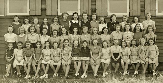 Girls at camp, Amber Valley Camp School, Woolley Moor, August-September 1947