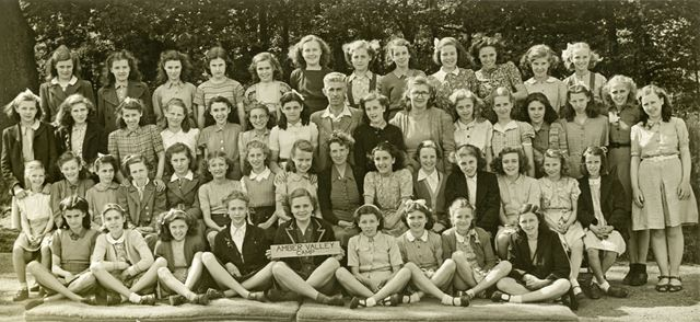 Girls at camp, Amber Valley Camp School, Woolley Moor, June 1947