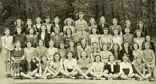 Girls at camp, Amber Valley Camp School, Woolley Moor, May-June 1947