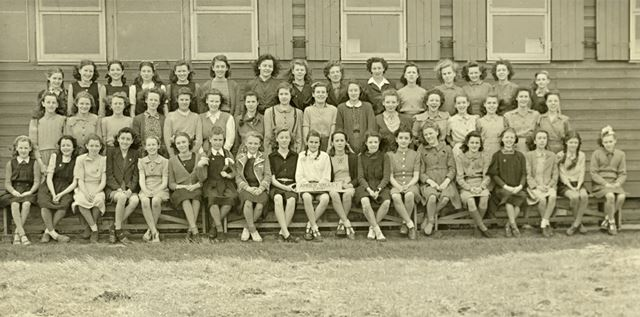 Girls at camp, Amber Valley Camp School, Woolley Moor, April-May 1947