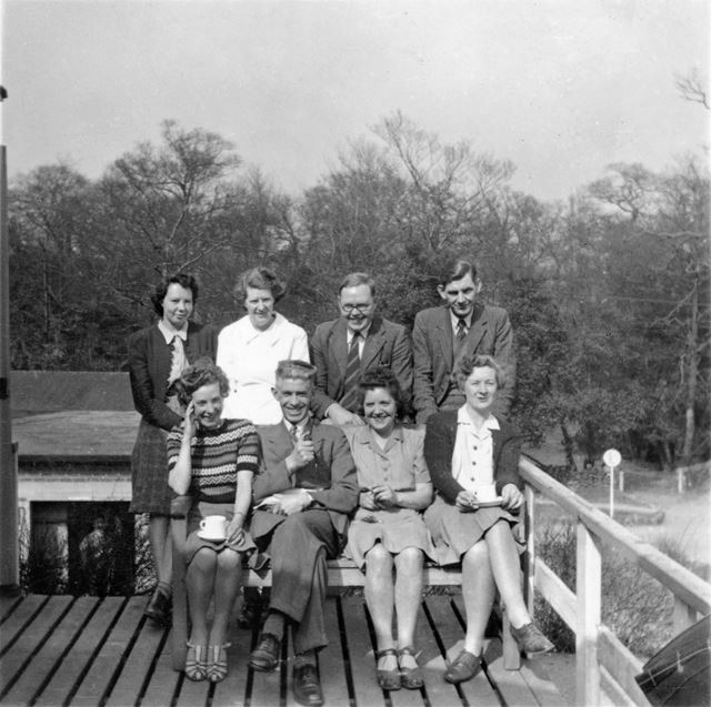 Staff Group, Amber Valley Camp School, Woolley Moor, c 1940s-50s