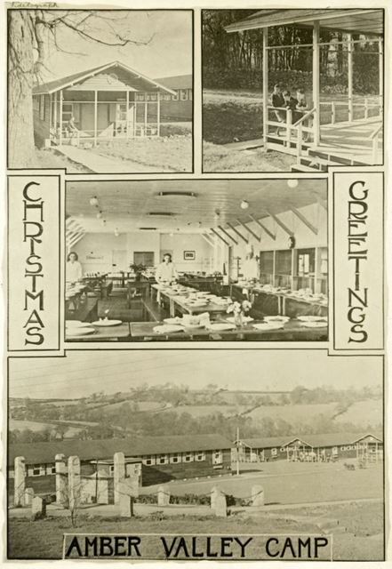 A postcard - views of Amber Valley Camp, Amber Valley Camp School, Woolley Moor, c 1940s-50s