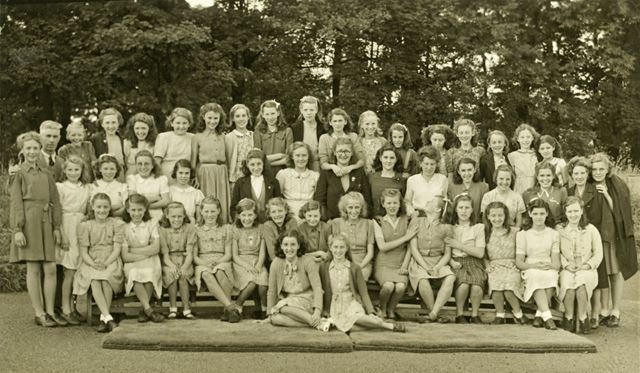 Girls at camp, Amber Valley Camp School, Woolley Moor, c 1940s-50s