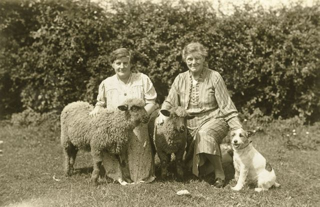 Mrs Spicer and Mrs Thickitt, Cliff Hill Farm, Clowne, c 1938