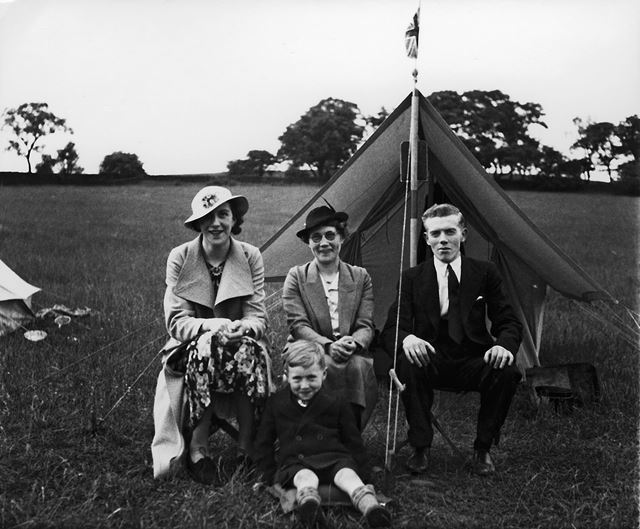Holiday makers camping at Castle Top farm, Cromford, c 1936