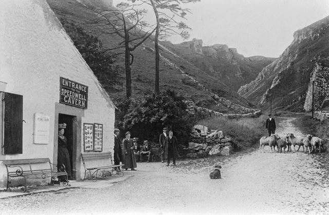 Entrance to Speedwell Cavern, Winnats Pass, Castleton, 1909