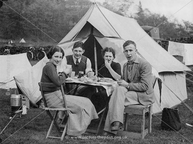 Camp at Castle Top Farm, Cromford, 1936