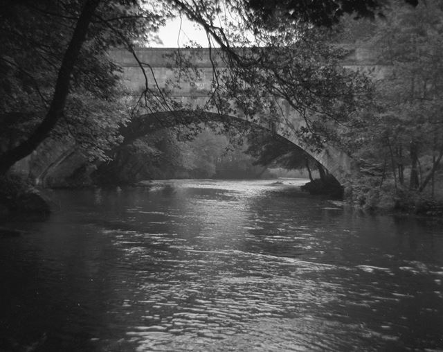 Wigwell Aqueduct from River Derwent, Cromford Canal, Lea, 1960