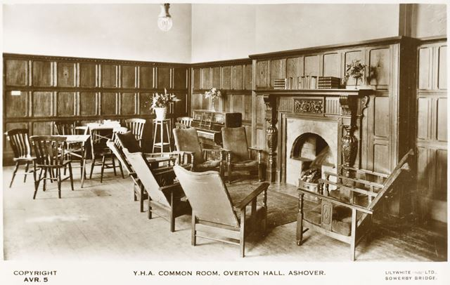 YHA Common Room, Overton Hall, Ashover, Derbyshire, c 1930s