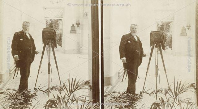 Photographer in Winter Gardens, Smedley's Hydro, Smedley Street, Matlock, c 1900