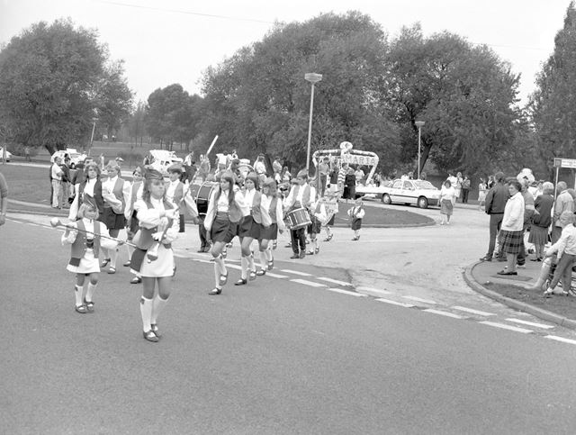 Carnival Procession with Nottingham Drum Majorettes, Godfrey Drive, Kirk Hallam, Ilkeston, c 1980s