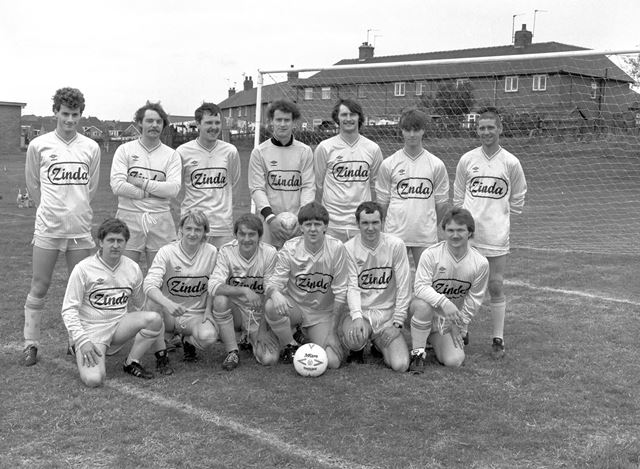 Football Team sponsored by Zinda, Ilkeston, c 1980s