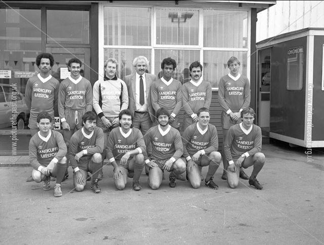 Gallows Inn Football Team sponsored by Sandicliffe, Nottingham Road, Ilkeston, c 1986
