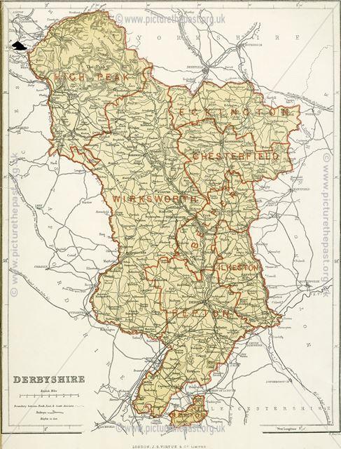 Map of Derbyshire, c 1868