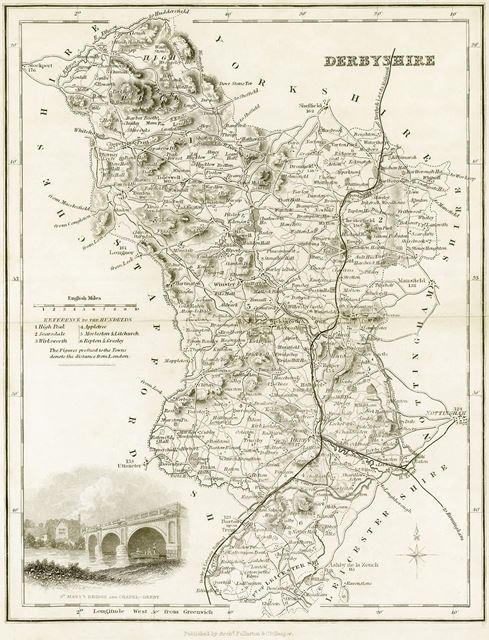 Map of Derbyshire, 1845