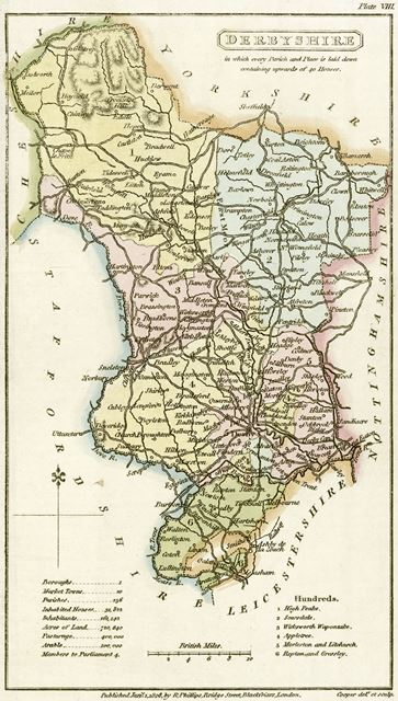 Map of Derbyshire, 1808