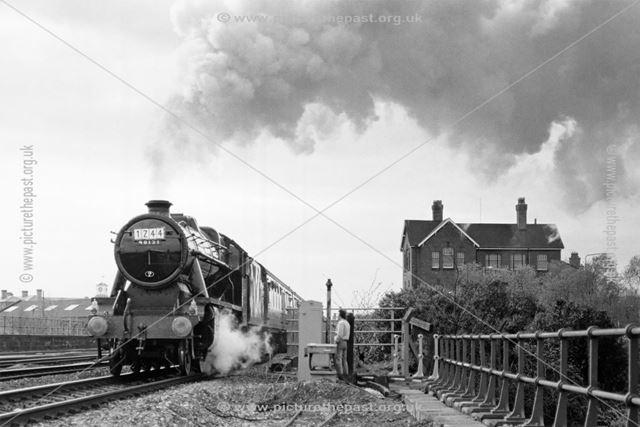 Steam loco 48151, Midland Railway Station, Railway Terrace, Derby, 1988