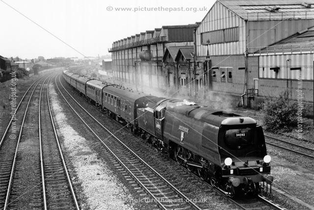 Steam loco City of Wells, near Osmaston Road, Derby, 1988