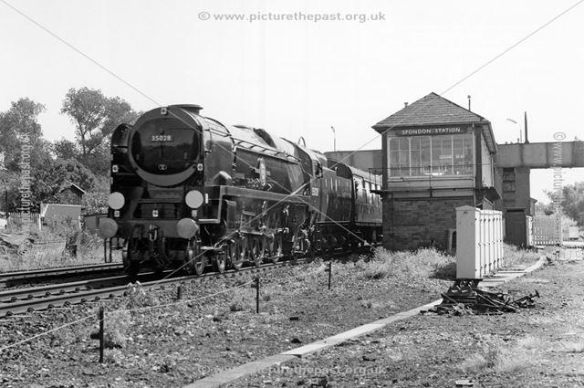 Steam loco Clan Line, Spondon Station, Station Road, Spondon, 1987