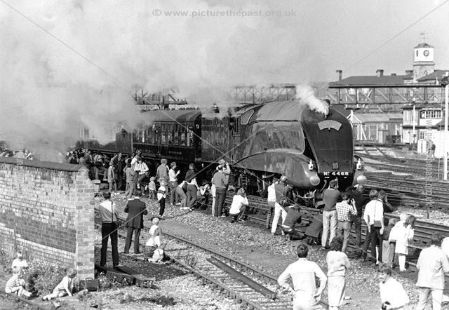 Steam loco Mallard, Midland Railway Station, Railway Terrace, Derby, 1986