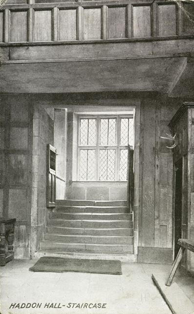 Stairs From the Banqueting Hall, Haddon Hall, c 1900s
