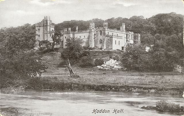 Haddon Hall from River Wye, Bakewell, c 1900s