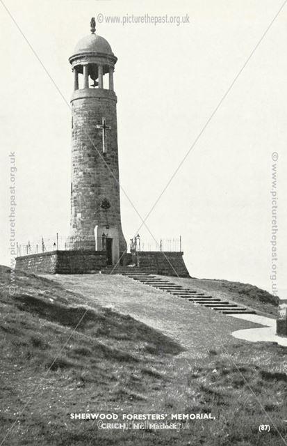 Sherwood Forester's Memorial, Crich Cliff, Crich Stand, Crich, nr Matlock, c 1920s