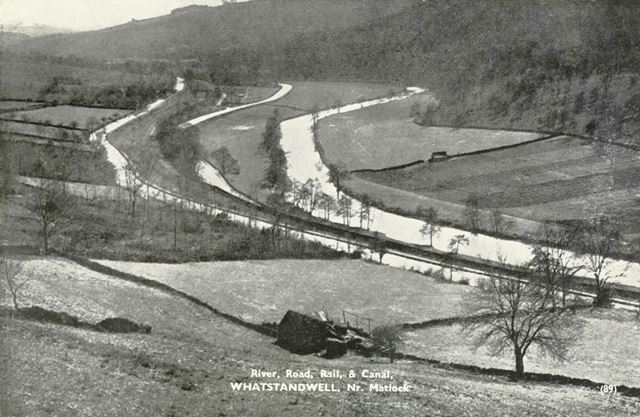 River, road, rail and canal running parallel in the valley, Whatstandwell, c 1900?