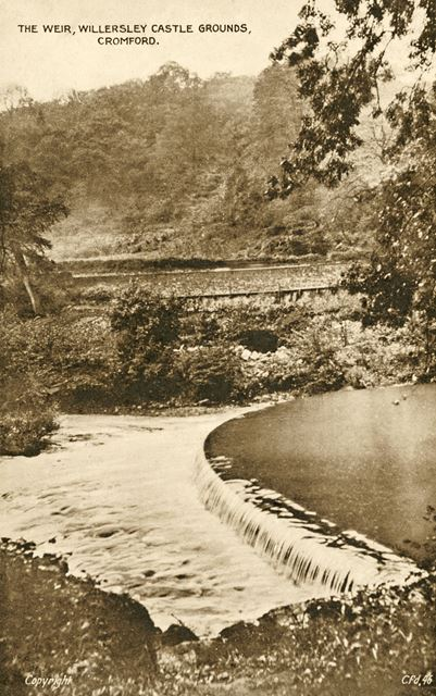 The weir in the Grounds of Willersley Castle, Cromford, c 1920s?