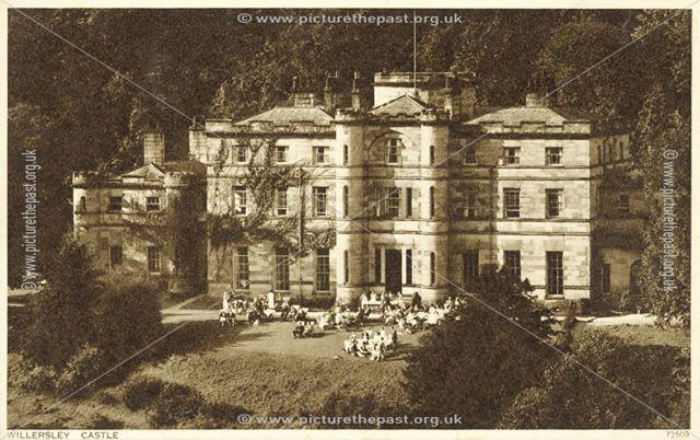 Tea on the terrace, Willersley Castle, Cromford, 1936