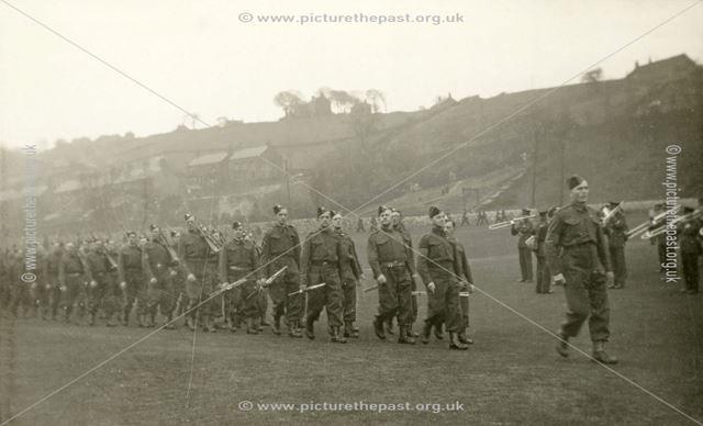 Home Guard Parade, Hayfield Recreation Ground, Hayfield, c 1945