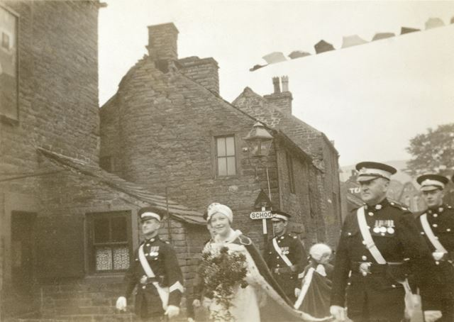 May Queen Elizabeth Etchells, May Day procession, Market Street, Hayfield, High Peak, 1934