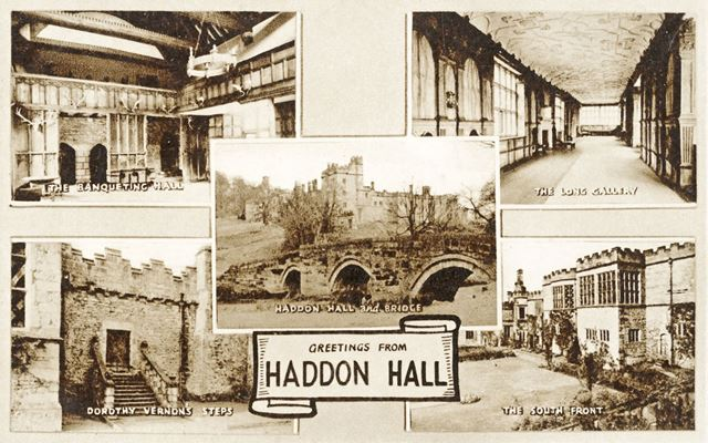 Postcard showing views of Haddon Hall, Haddon Road, Bakewell, c early 1900s?