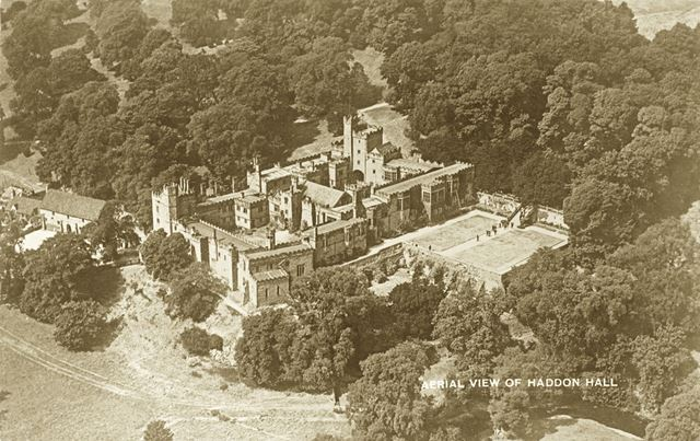 Aerial view of Haddon Hall, Haddon Road, Bakewell, c early 1900s?