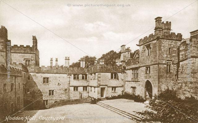 The Courtyard, Haddon Hall, Bakewell, c 1890s-1910s