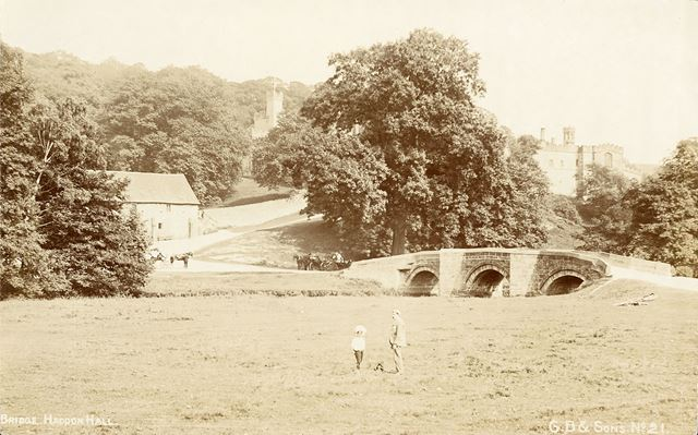 The Bridge and Hall, Haddon Hall, Bakewell, c 1900s