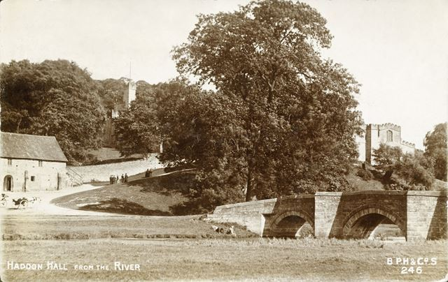 Haddon Hall from the River Derwent, Bakewell, c 1900