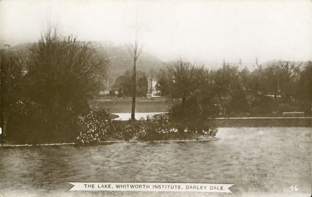The lake at the Whitworth Institute, off Lime Tree Avenue, Darley Dale, c 1910s