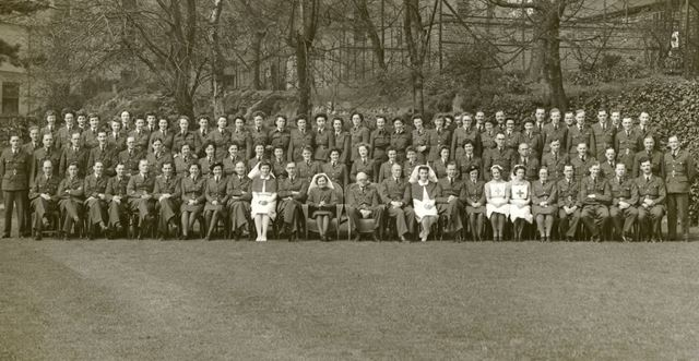 Nursing staff and officers, RAF Hospital at Rockside Hydro, Cavendish Road, Matlock, c 1942-43