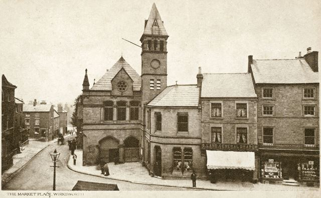 Market Place and Town Hall, corner of Coldwell Street and Market Place, Wirksworth, c 1911