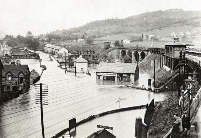 Flooding at Ambergate, 1920s