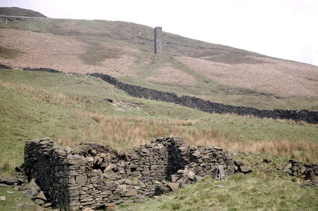 Air shft chimney and adit, Danebower Colliery, Dane Valley, 1972